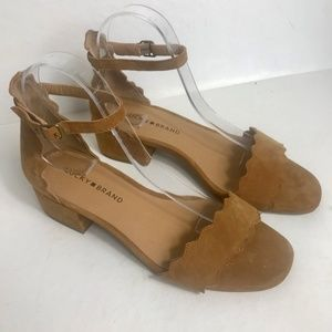 Lucky Brand Norreys Sandals Tan Suede FINAL FIRM